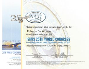 ISHRS international society of hair restoration surgery certificato